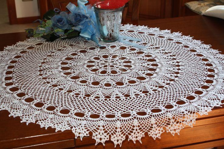 Tovaglietta ad uncinetto rotonda centro pizzo centrotavola uncinetto, round chrochet napperon napkins lace cotone bianco nuovo, di MondoTSK su Etsy