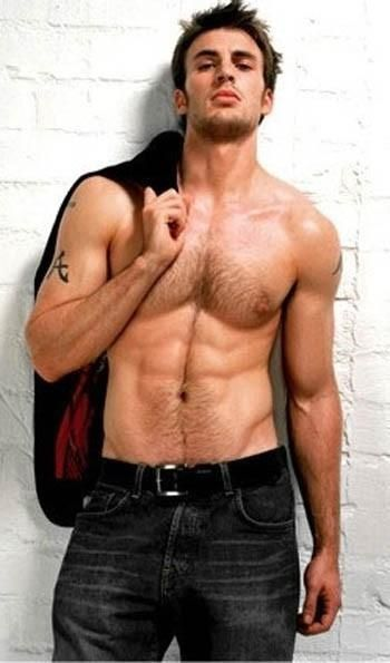 "Chris Evans...captain america  Is that an Alabama ""A"" I see on his arm? RTR -- might be Christian Grey?"