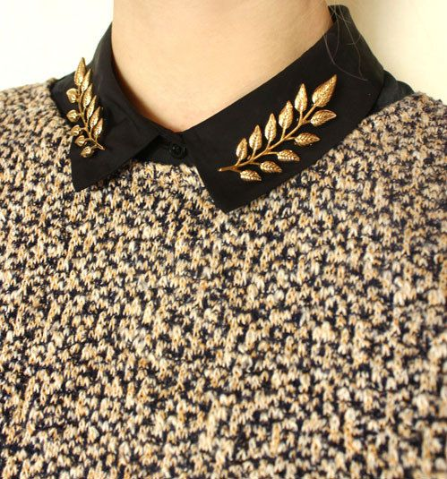 Leaves Collar Pins Leaf Collar Clips Tips Brooches Brooch Double Pin Collar Jewelry Chains Collar Studs Collar Chain Clip Forest.S756938 on Etsy, $11.50