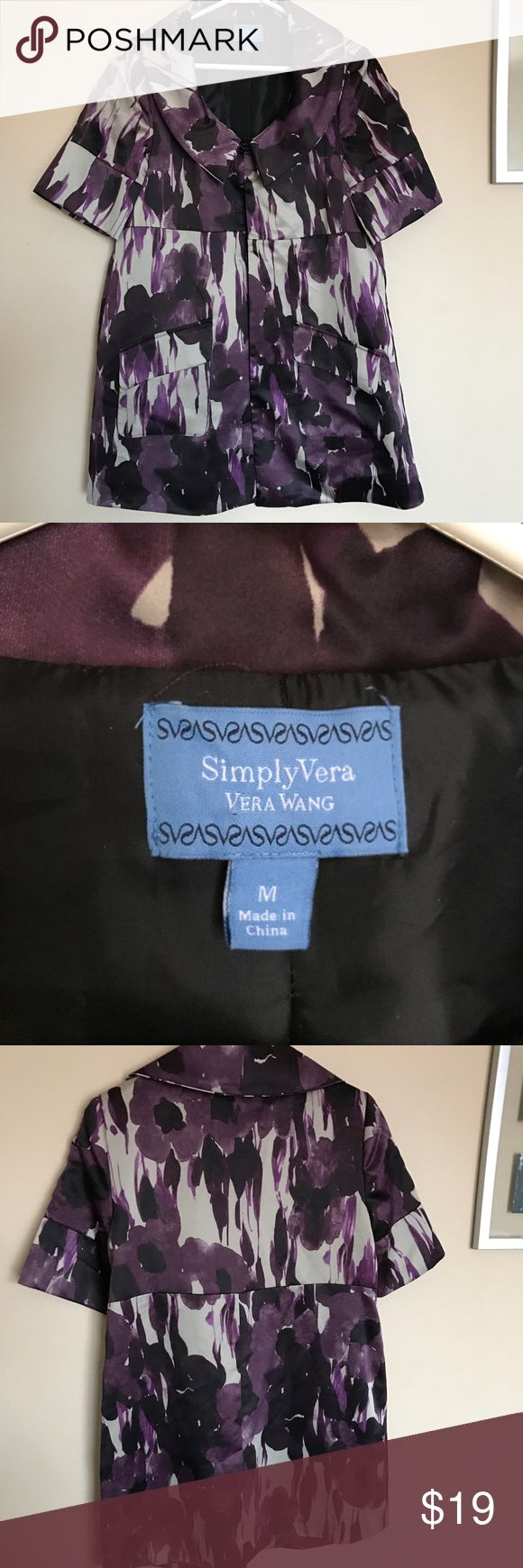 Simply Vera Vera Wang polyester floral overcoat Simply Vera Vera Wang Overcoat Coat Blazer Size: Medium Dark Purple Women's Jackets & Outerwear. Practically New. 100% Polyester Simply Vera Vera Wang Jackets & Coats