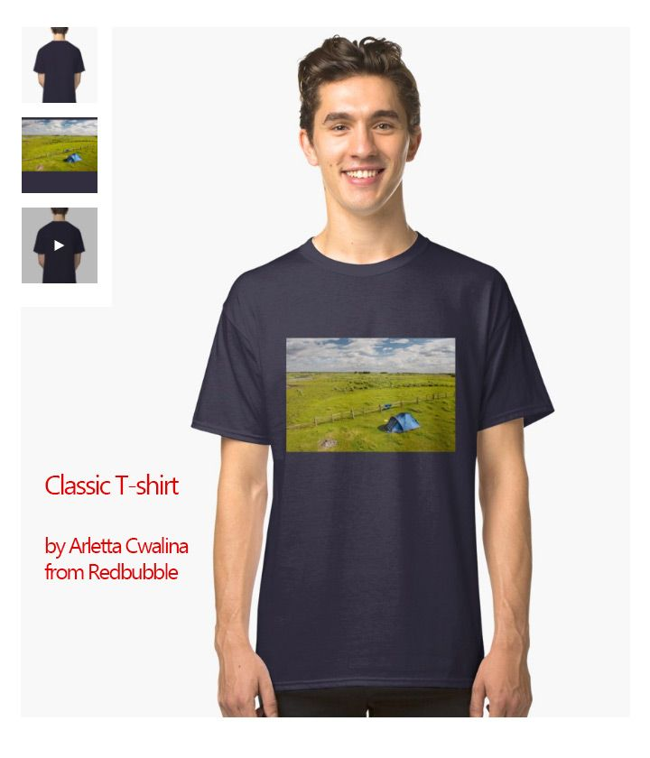 Classic T-shirt of the Camping tent and grass expanse landscape in Biebrza wetland area in summertime, blue tent on green bright grass in sunny day, beautiful rural view at Biebrza National Park in Poland, Europe. Polish name Biebrzański Park Narodowy.  #tshirt #clothes