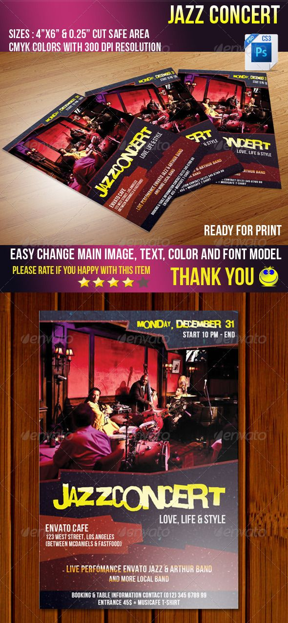 Jazz Concert — Photoshop PSD #jazz music #clean flyer • Available here → https://graphicriver.net/item/jazz-concert/3697018?ref=pxcr