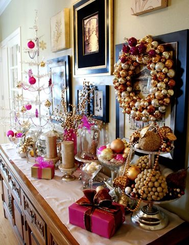 gold, black, and pink for Christmas/Holidays / Talk about an easy way to repurpose items & decorations from other holiday celebrations to come up with a beautiful Christmas display. #HolidayMoments