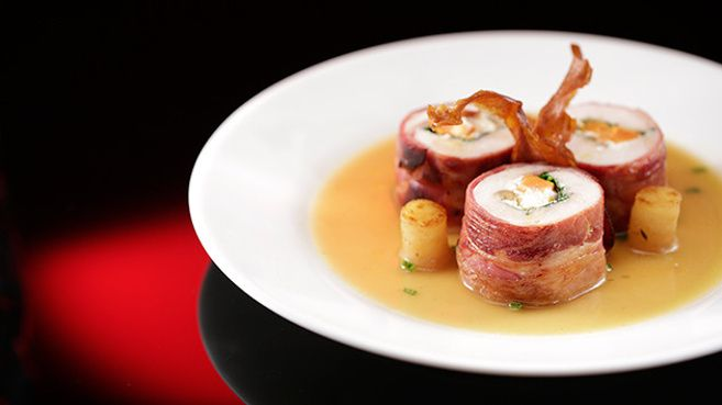 Sweet Potato and Walnut Chicken Roulade with White Wine Jus