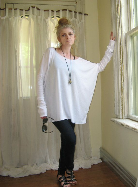 Off Shoulder Sweater Womens Plus Size Top OverSize Tee Long Sleeved Tunic Boxy Top - White - XSmall - XLarge - Made to Order on Etsy, $42.30 CAD