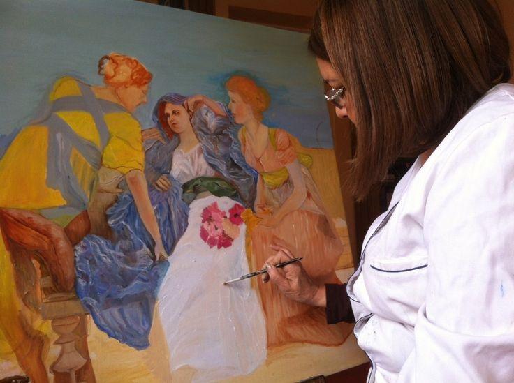 Otro momento en la Academia , en que María Angélica trabaja en uno de sus cuadros.