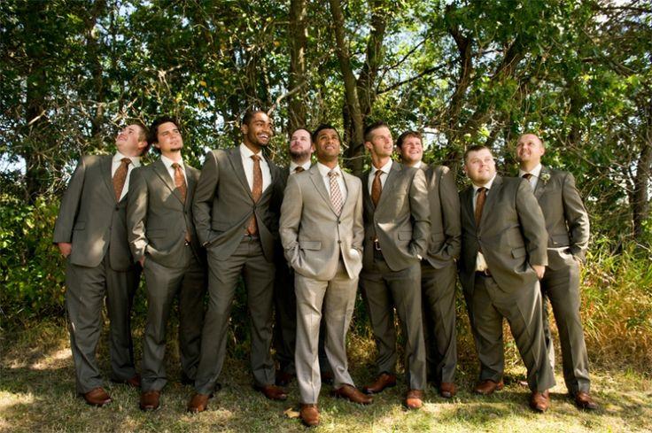 Tan groomsmen suits by Wisconsin wedding photographer Kate Bentley.