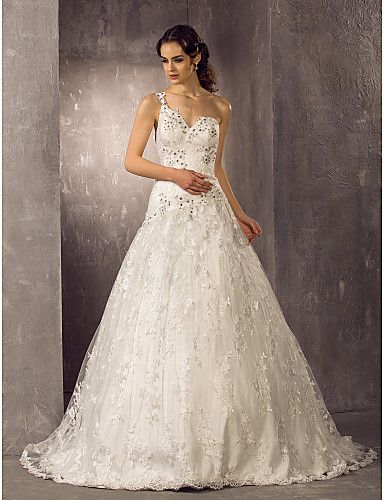 Wedding Dress A Line Sweep Brush Train Lace One Shoulder With Crystal Detailing and Appliques – USD $ 179.99