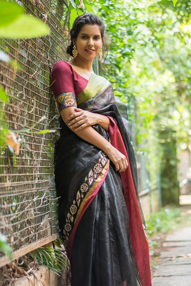 Black silk kota saree with ganga jamuna border + handpainted kalamkari applique border  #saree #blouse #houseofblouse #indian #bollywood #style #black #green #maroon #gangajamuna #border #silk #kota #handpainted #kalamkari #applique