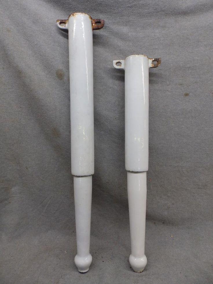 Antique Cast Iron White Porcelain Sink Legs Old Vtg Hardware 132-17R