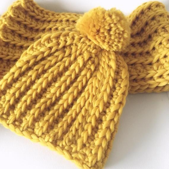 PDF Crochet Pattern Infinity Scarf Written Instructions Pom Pom Hat and Scarf Set Ladies Beanie Bobble Hat