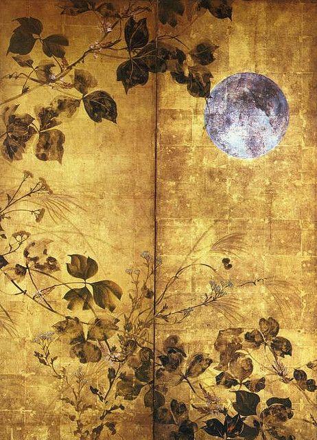 Autumn Flowers and Moon - Hoitsu Sakai  (酒井 抱一, 1761-1828)