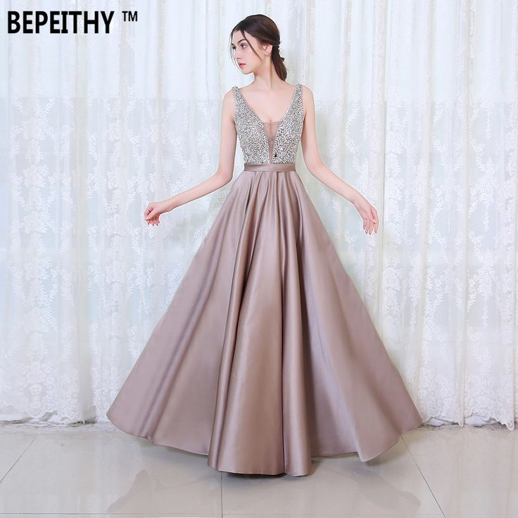 US $83.60 -- AliExpress.com Product - BEPEITHY V-Neck Beads Bodice Open Back A Line Long Evening Dress Party Elegant Vestido De Festa Fast Shipping Prom Gowns