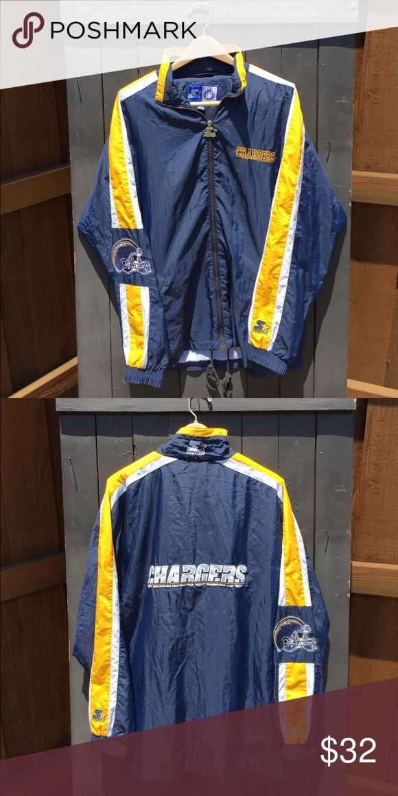 """NFL Chargers Starter Windbreaker NFL Chargers Starter Windbreaker In Blue.  Brand: Starter Size: Men's Medium / Women's Large Condition: 9/10  Comments: Huge Chargers Helmet & Logo On The Sleeve & """"Chargers"""" Spell Out On The Back. starter Jackets & Coats Windbreakers"""