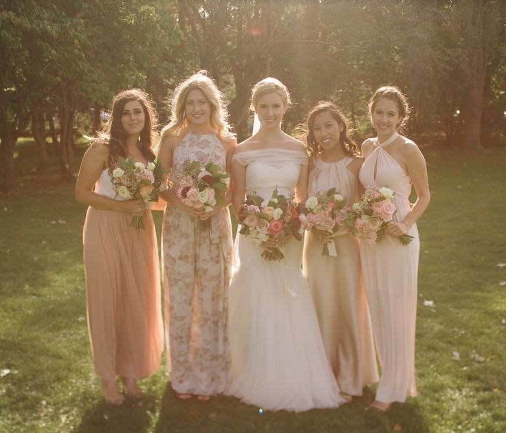 eclectic pink bridesmaids dresses; PHOTOGRAPHY Joel + Justyna Bedford;