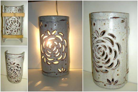 Arandela de ceramica para parede- Flor