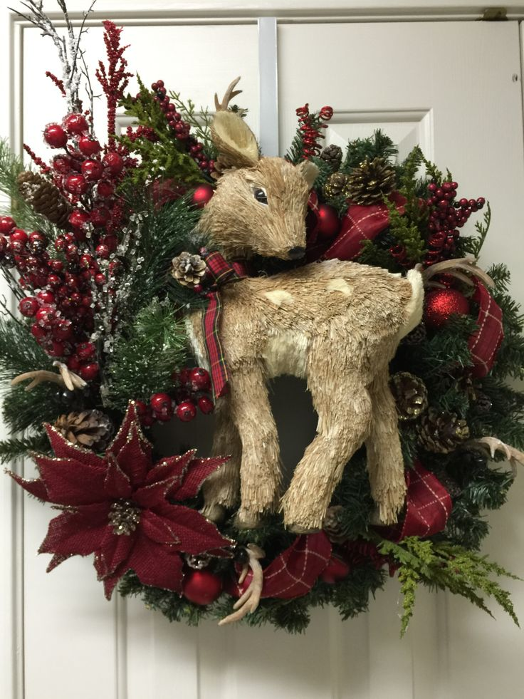 Natural Christmas deer wreath by Twentycoats Wreath