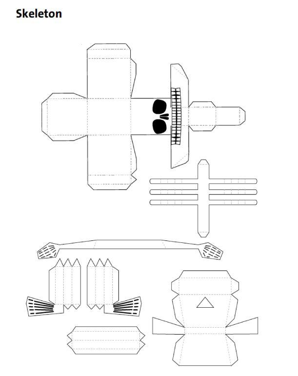 Blog Paper Toy papertoy Skeleton template preview Squelette en papier pour Halloween