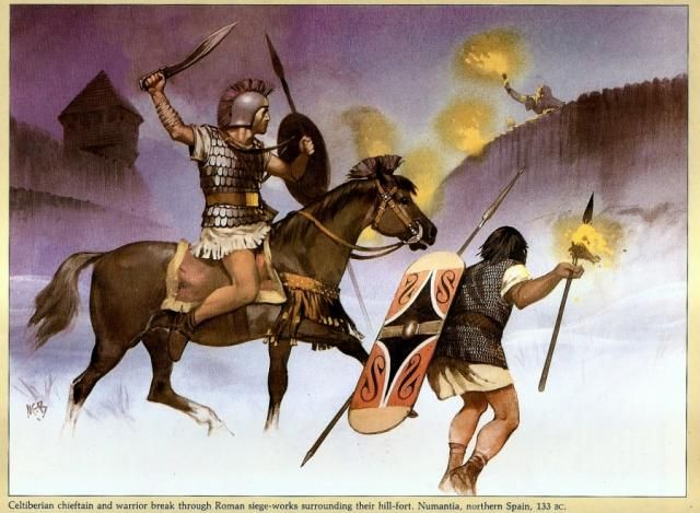 Celtiberian warriors attack Roman siege fortifications around their hill fort Numantia Spain 133 BC