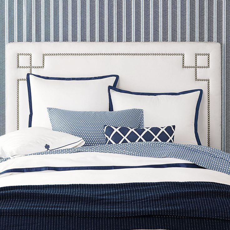 An idea for bedding decor at the barn . . . pair some simple check linens (the sheets in a check, pillow cases in a smaller check?) with a textural coverlet, a few pillows to stack in stripes, some crisp white tossed in.    Classic Whites Collection in Navy | Serena & Lily