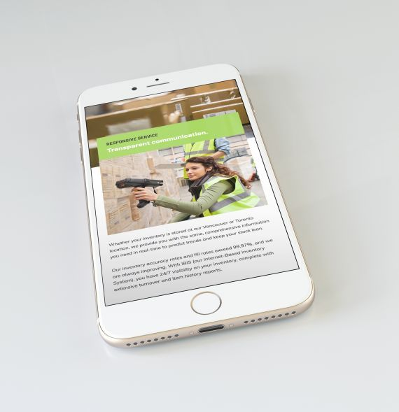 i2i Fulfillment mobile website design. #fulfillment #distribution #warehouse #inventory #logistics #orderfulfillment #company Branding and web design by #Studiothink / Vancouver, BC #vancouver #SurreyBC #branding #design #stationery #brochure #website #webdesign #creative #agency