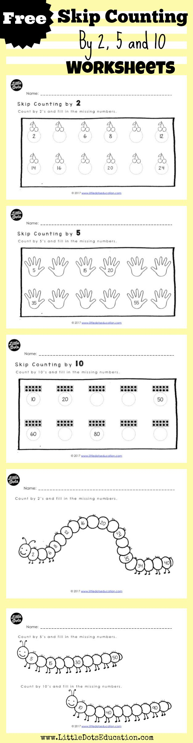 Skip counting worksheets kindergarten