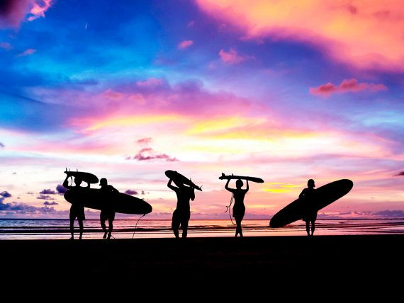 Beach sunset people wall art impresiones digitales por Chachaprints