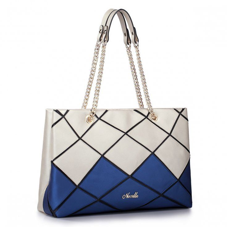 Exclusive Leather Ecru And Dark Blue Bag With Chain Handle