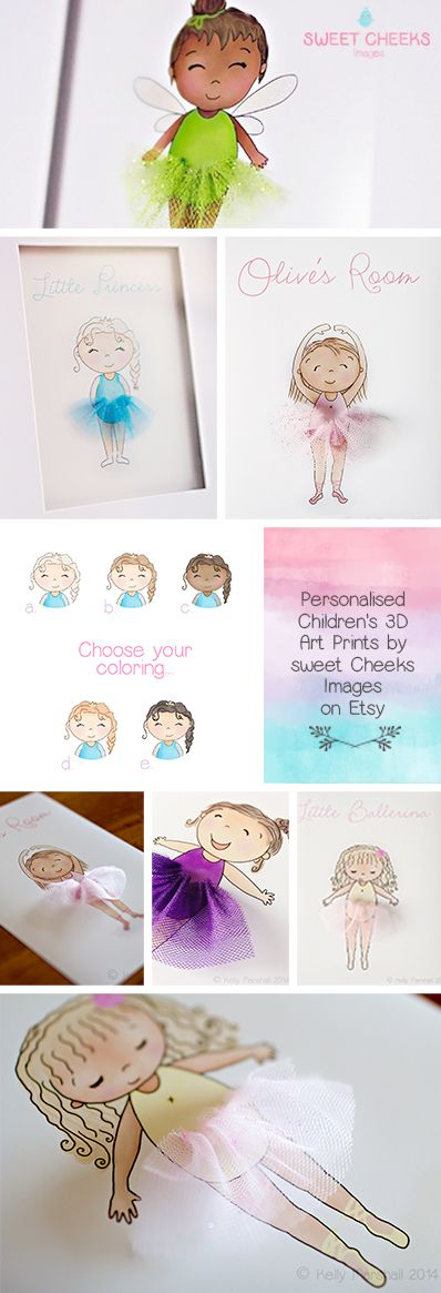 ♥ Children's 3D Art Prints by Sweet Cheeks Images. Customise colours and Personalise with your little ones name or a short phrase! :) $21.00 AUD