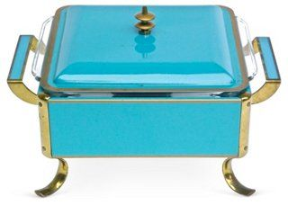 Mid-Century Modern Chafing Server - love this chafing dish! what if were to put it on the buffet in dining room and find one more vintage one in a different color? i love the idea of having chafing dishes-have always thought about buying them -but these could be decor and functional also!