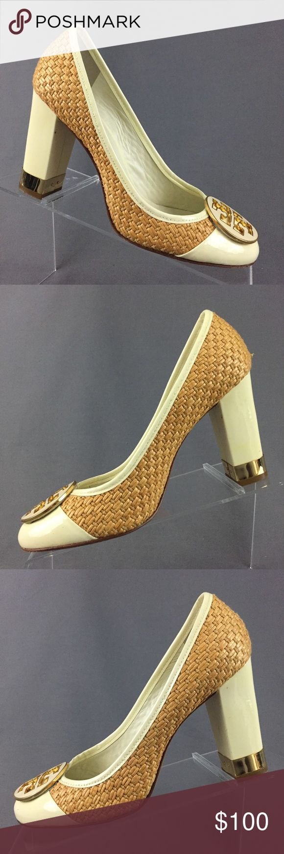 """Tory Burch Pumps Women's 6.5 Heels Tory Burch Pumps Women's size 6.5 M US Woven straw rattan pattern with patent cream leather upper Heel: 3"""" Good used condition  Please refer to pictures for details and feel free to ask questions prior to purchasing. Tory Burch Shoes Heels"""