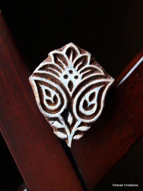 Hand Carved Indian Wood Textile Stamp Block- Floral Motif