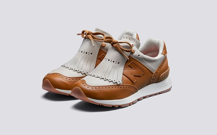 Grenson x New Balance | W576GTW Womens Sneaker in Lamb Roughout Suede and Tan Calf Leather on Rubber Sole | Grenson Shoes - Three Quarter View
