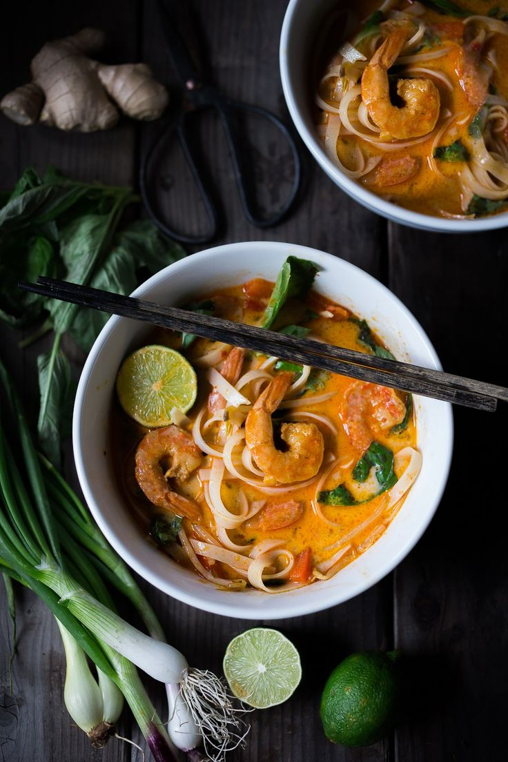 Fast and flavorful, this 15 Minute Northern Style, Thai Coconut Noodle Soup called, Khao Soi is so easy to make! A rich fragrant broth w/ either shrimp, tofu or chicken.   www.feastingathome.com