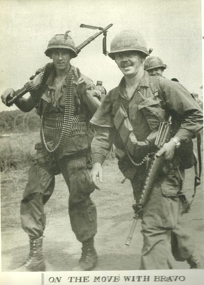 Co B 1/27 Wolfhound - leaving for patrol from FSB Kien 1970