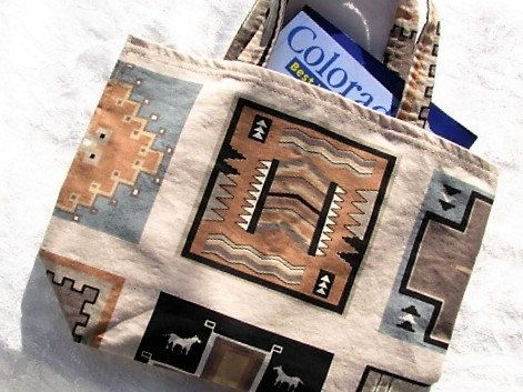 Beige & Blue Southwestern Print Lunch or Book Bag by TurtleFishCreations on Etsy