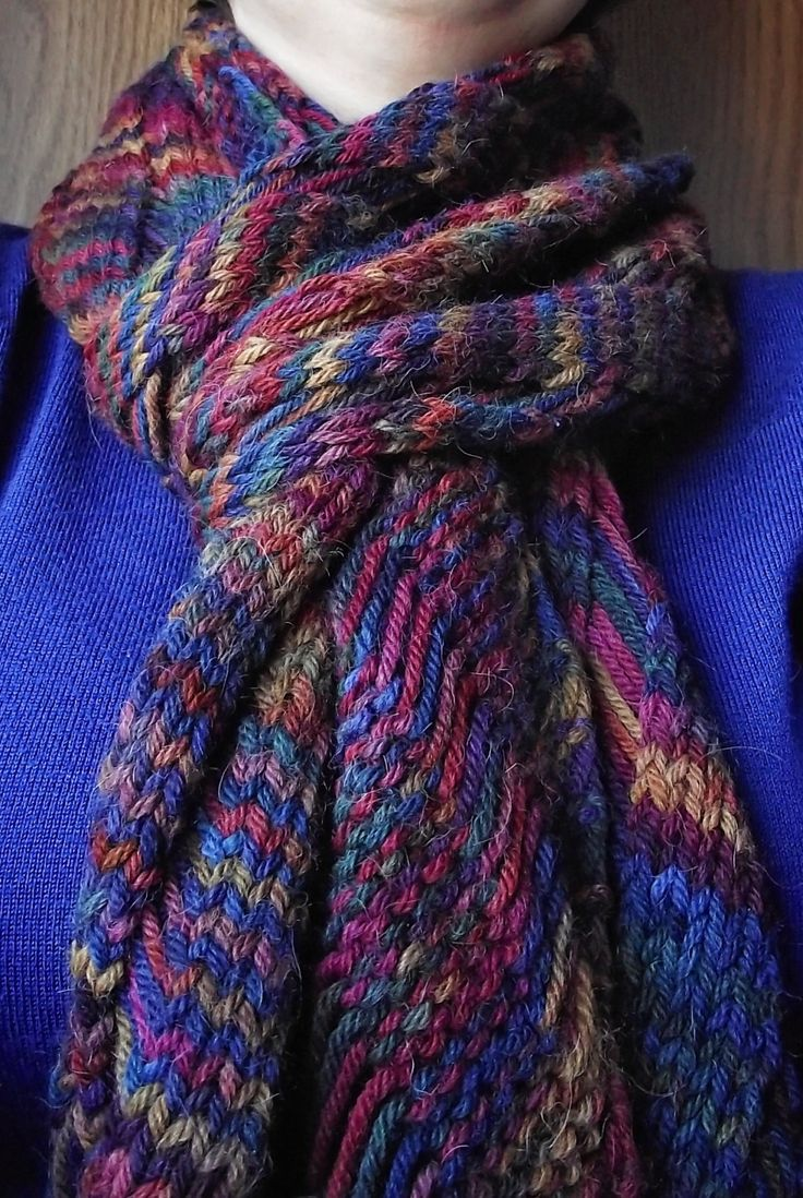 Hand Knit Alpaca Scarf, Wrap, Shawl. Beautiful fall colors! by FluffyTailsHandspun on Etsy