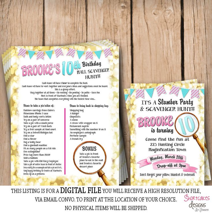 Mall Scavenger Hunt & Slumber Party Birthday Package by ShortcakesDesigns on Etsy