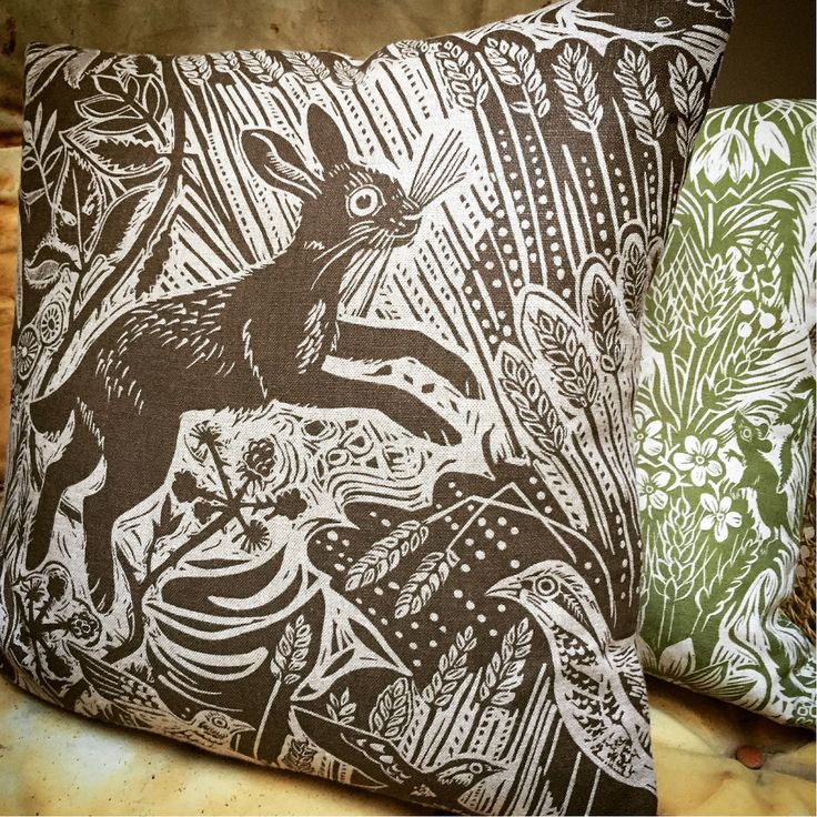 Mark Hearld's 'Harvest Hare' and 'Squirrel and Sunflower' cushion covers for St Jude's