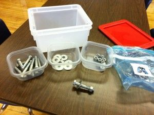 sorting/fine motor tasks using cheap supplies from the hardware store-awesome for middle/high schoolers!