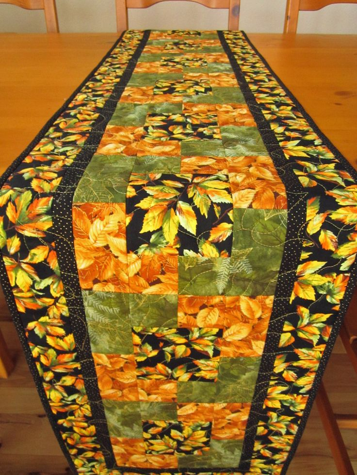 Handmade Quilted Table Runner Leaves with Gold and Green