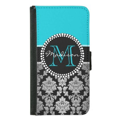 Black silver gray Damask teal aqua blue Wallet Phone Case For Samsung Galaxy S5 - black gifts unique cool diy customize personalize