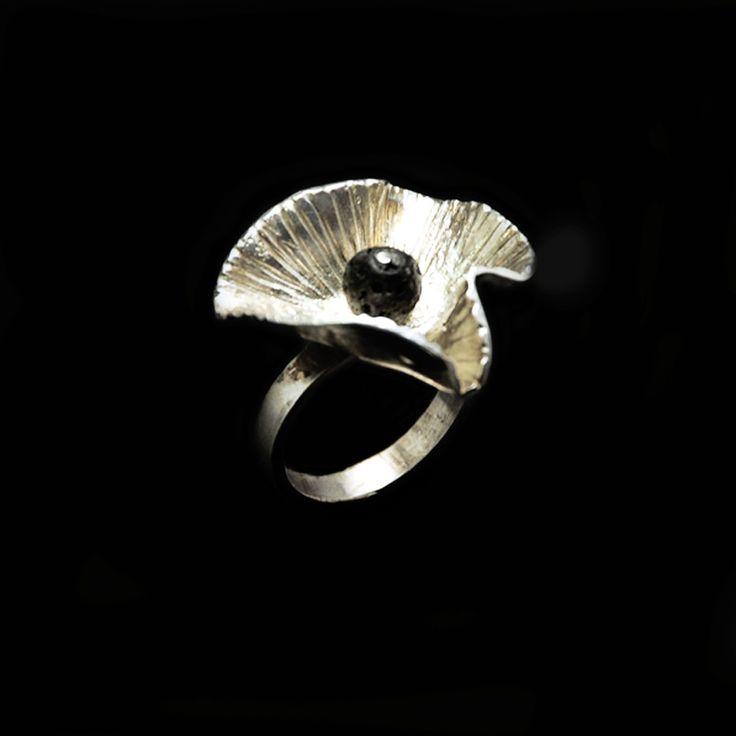 Χειροποίητο δαχτυλίδι παπαρούνα