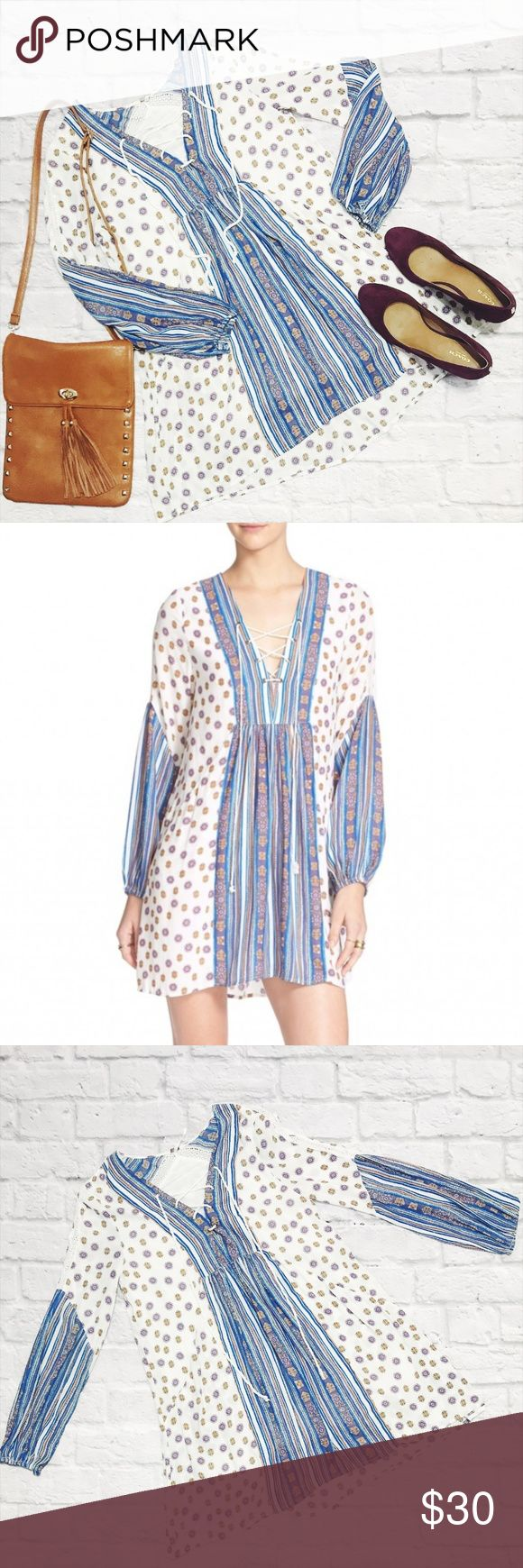 Free People Rain or Shine Festival Dress XS Free People Patterned Festival Dress  condition: EUC (excellent used condition) color: White, Blue - printed fabric fit: bit of oversized look but true to FP extra small other: N/A Free People Dresses Mini