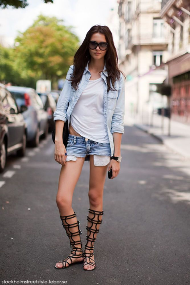 Daring Denim & Gladiator Shoes