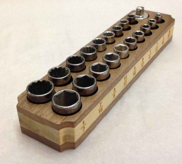 Wood and Socket Magnet Holder | DIY Tool Kits | Tool Organizer Ideas You Can Do at Home see more at http://diyready.com/diy-tool-kits-tool-organizer-ideas-you-can-do-at-home