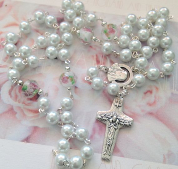 White Pearl Rosary First Communion Gift by AwfyBrawJewellery