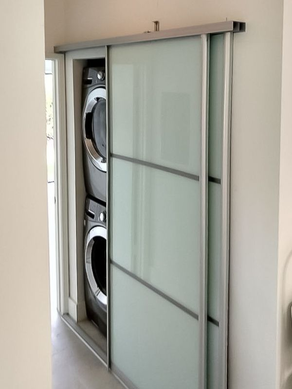 Sliding Doors For Stackable Laundry Unit And Small Closet Glass