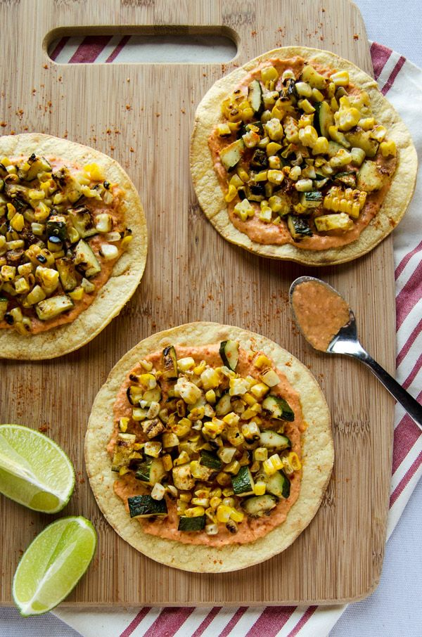20 Delicious Vegetarian BBQ Idea | Grilled Zucchini and Corn Tostadas with Spicy Hummus