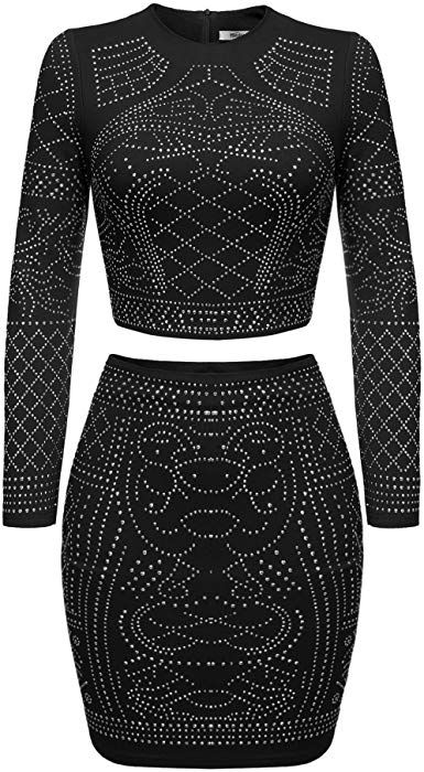 4308863b5aa Beyove Womens Sexy Cut-Out Bandage Clubwear Crop Top and Mini Skirt (Black  XL) at Amazon Women s Clothing store